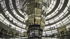People walking inside the Reichstag Dome in Berlin, Germany (Time Lapse) - stock footage