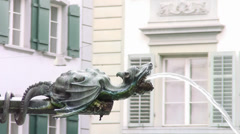 Luzern, a fountain - stock footage