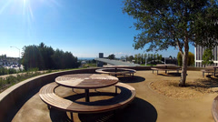 Beautiful New Picnic Tables At New Civic Center Park- Newport Beach CA Stock Footage