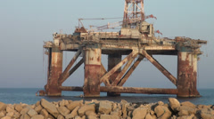 Iran, old abandoned oil platform in Persian Gulf Stock Footage