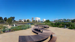 Curved Picnic Tables At New Civic Center Park- Newport Beach CA Stock Footage