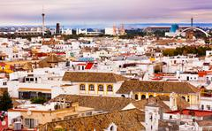 Basilica de la macarena, spanish houses cityscape andalusia seville spain Stock Photos