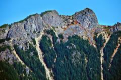 mount si north bend hikers on top washington state - stock photo