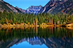 Gold lake reflection mt chikamin peak snoqualme pass washington Stock Photos