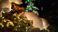 Real Christmas Tree Lights in the Country with Snow - stock footage