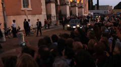 Pope Francis leaving a Rome Cemetery in the evening 2 Stock Footage