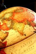 Asia on the luminous globe Stock Photos