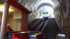 Kiev Ukraine funicular passengers Stock Footage