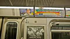 Subway Car Ad in New York City Stock Footage