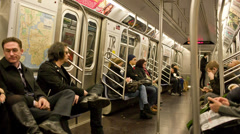 Subway in New York City Manhattan MTA Public Transportation NYC Riding Interior Stock Footage