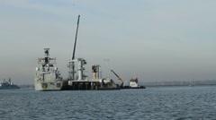 British war ship Stock Footage
