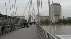 Golden Jubilee foot bridge in London Stock Footage