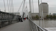 Stock Video Footage of Golden Jubilee foot bridge in London