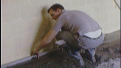 MEN Work CEMENT Floor 1960s Vintage 8mm Film Home Movie 7466 - stock footage