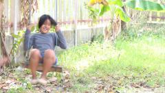 Children play swing Stock Footage