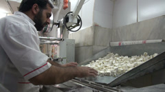 Nougat production, factory, worker, sweet candy, special food, Iran Stock Footage