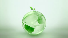 Green Earth Spinning Globe - stock footage