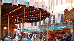 PIAZZA NAVONA ANTIQUE CAROUSEL STANDS Stock Footage