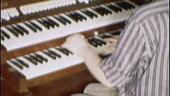 Woman PLAYS CHURCH ORGAN Keyboard Organist 1960 Vintage 8mm Film Home Movie 7475 - stock footage