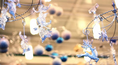 CHRISTMAS DECORATION ANGELS BALLS REINDEER Stock Footage