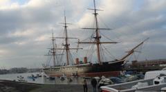 HMS Warrior at the Royal Navy shipyard Stock Footage