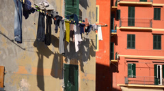 Hanging clothes in camogli Stock Footage