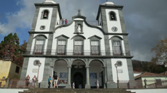 Tourists at church of our lady of monte, funchal, madeira, portugal Stock Footage