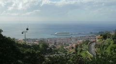 View of monte cable car and harbour, funchal, madeira, portugal Stock Footage