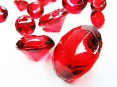 Stock Photo of red ruby gem stones crystals