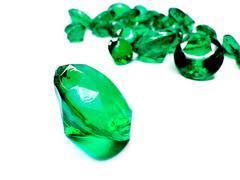 green emerald gem stones crystals - stock photo