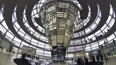 People walking inside the Reichstag Dome in Berlin, Germany (Time Lapse) Stock Footage