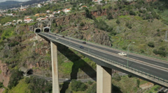 Road bridge over ravine in funchal, madeira, portugal Stock Footage