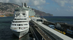 Cruise ships moored in harbour at funchal madeira, portugal Stock Footage