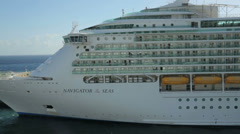 Close up pan of navigator of the seas cruise ship bow Stock Footage
