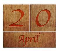 wooden calendar april 20. - stock illustration