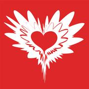 fantastic variation with red heart - stock illustration