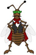 Defiant bug wearing a vest Stock Illustration