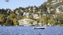 Lake como, villa olmo Stock Footage