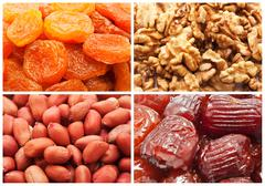Dried fruits and nuts - stock illustration