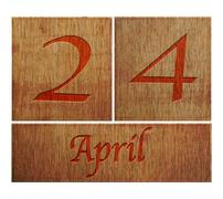 Stock Illustration of wooden calendar april 24.