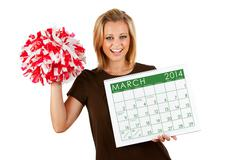Stock Photo of 2014 calendar: exctied for spring march sports