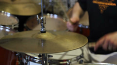 Man playing drums, close up of hi hat cymbals Stock Footage