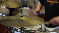 Stock Video Footage of Man playing drums, close up of hi hat cymbals