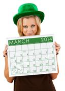 2014 calendar: girl ready for march st. patrick's day Stock Photos