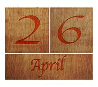 wooden calendar april 26. - stock illustration