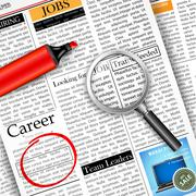 Job Search in Newspaper - stock illustration