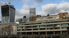 Stock Video Footage of Moving image of London skyline from Thames River