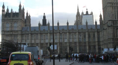 London's Parliament Building on a busy winter day - stock footage
