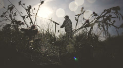 The fisherman in a web Stock Footage