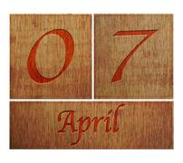 Stock Illustration of wooden calendar april 7.